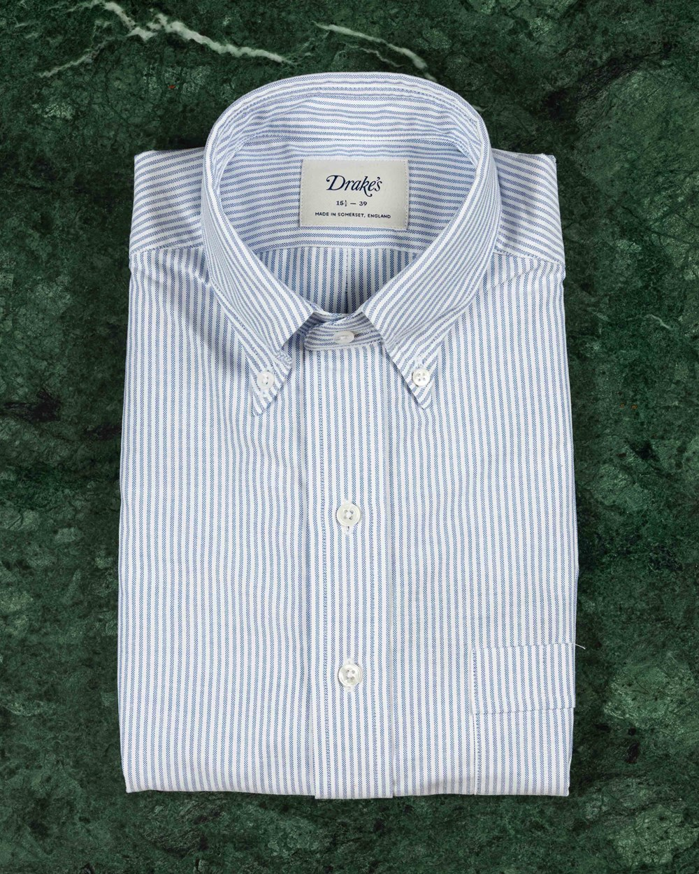 Drakes Slim Fit Button Down Striped Oxford Shirt
